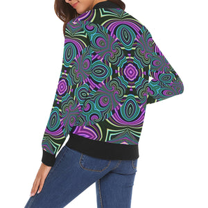Neon Leafs All Over Print Bomber Jacket for Women (Model H19)