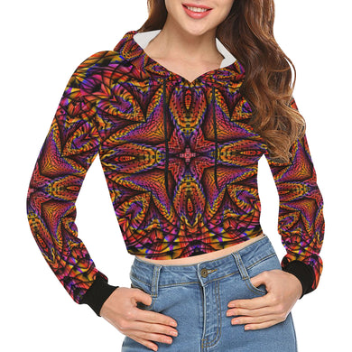 Elemental Fire All Over Print Crop Hoodie for Women (Model H22)