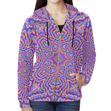 Ethereal All Over Print Full Zip Hoodie for Women (Model H14)
