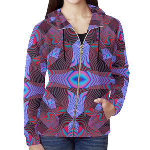 Artificial Intelligence All Over Print Full Zip Hoodie for Women (Model H14)