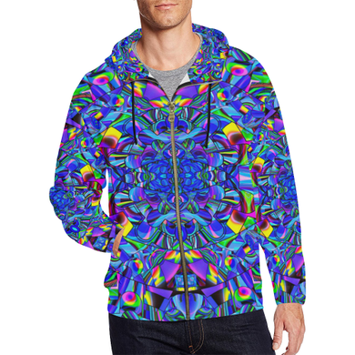 Hope in Blue All Over Print Full Zip Hoodie for Men (Model H14)