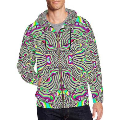 No Signal All Over Print Full Zip Hoodie for Men (Model H14)