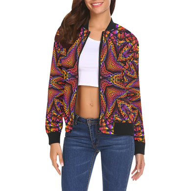Elemental Fire All Over Print Bomber Jacket for Women (Model H19)