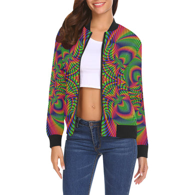 Tropical All Over Print Bomber Jacket for Women (Model H19)