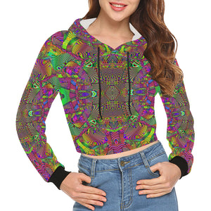 Trippydelik All Over Print Crop Hoodie for Women (Model H22)