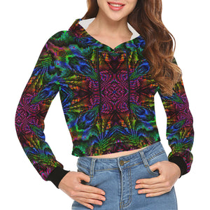 Subtropics All Over Print Crop Hoodie for Women (Model H22)