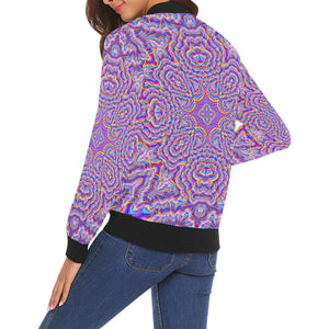 Ethereal All Over Print Bomber Jacket for Women (Model H19)