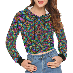 Meditative Thoughts All Over Print Crop Hoodie for Women (Model H22)