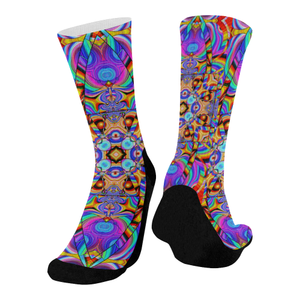 Hyper Cube Mid-Calf Socks (Black Sole)