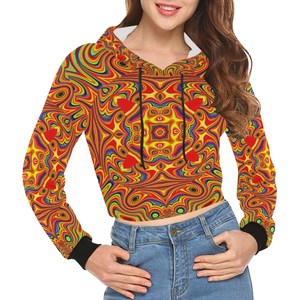 Samsara All Over Print Crop Hoodie for Women (Model H22)