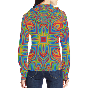 Lit All Over Print Full Zip Hoodie for Women (Model H14)