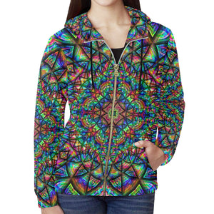 Meditative Thoughts All Over Print Full Zip Hoodie for Women (Model H14)