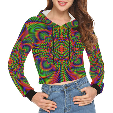 Tropical All Over Print Crop Hoodie for Women (Model H22)