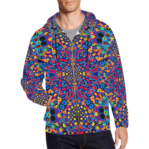 Alien Flora All Over Print Full Zip Hoodie for Men (Model H14)