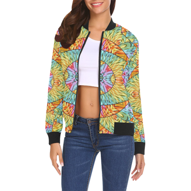 Eye of the Sun All Over Print Bomber Jacket for Women (Model H19)