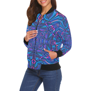 Blue Sector All Over Print Bomber Jacket for Women (Model H19)