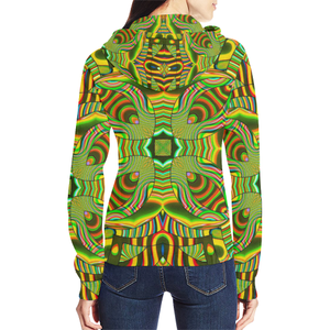 Amazonian All Over Print Full Zip Hoodie for Women (Model H14)