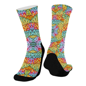 Eye of the Sun Mid-Calf Socks (Black Sole)