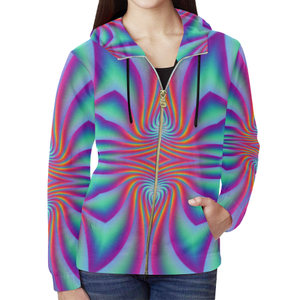 Spiral Factory All Over Print Full Zip Hoodie for Women (Model H14)