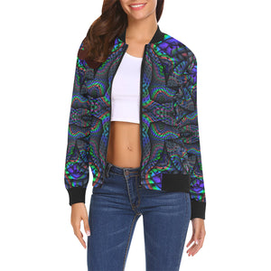 Elemental Water All Over Print Bomber Jacket for Women (Model H19)