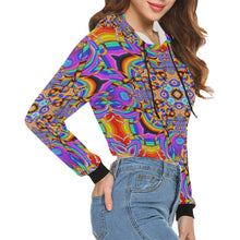 Hyper Cube All Over Print Crop Hoodie for Women (Model H22)