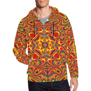 Samsara All Over Print Full Zip Hoodie for Men (Model H14)