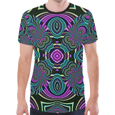 Neon Leafs New All Over Print T-shirt for Men (Model T45)