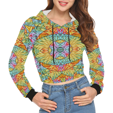 Eye of the Sun All Over Print Crop Hoodie for Women (Model H22)
