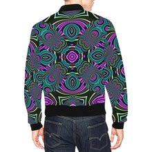 Neon Leafs All Over Print Bomber Jacket for Men (Model H19)