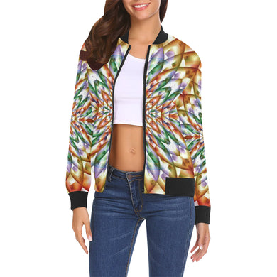 In Bloom All Over Print Bomber Jacket for Women (Model H19)