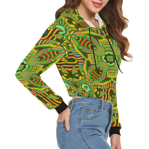 Amazonian All Over Print Crop Hoodie for Women (Model H22)