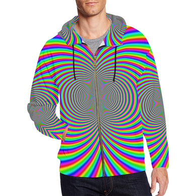 Hypnotizer All Over Print Full Zip Hoodie for Men (Model H14)
