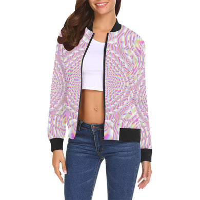 Pink Waves All Over Print Bomber Jacket for Women (Model H19)