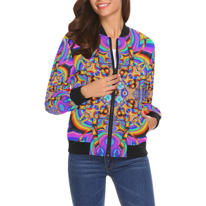 Hyper Cube All Over Print Bomber Jacket for Women (Model H19)