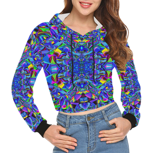 Hope in Blue All Over Print Crop Hoodie for Women (Model H22)