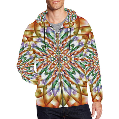 In Bloom All Over Print Full Zip Hoodie for Men (Model H14)