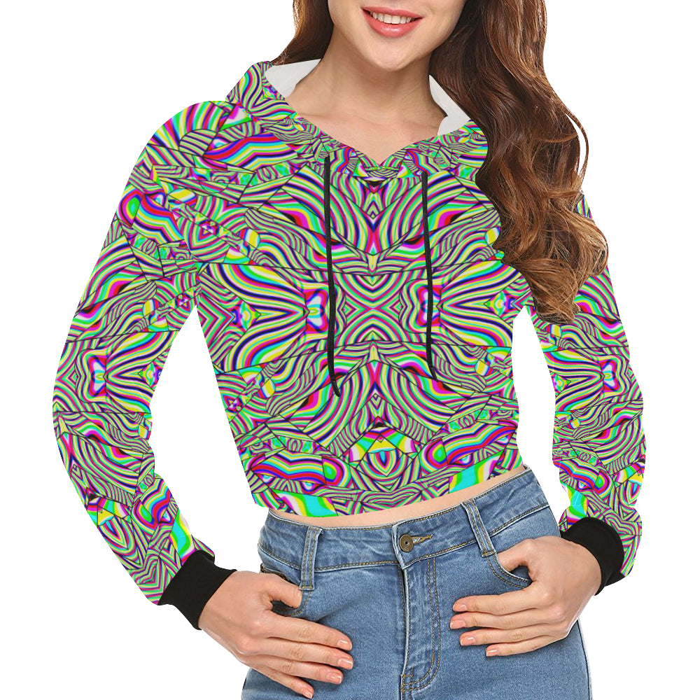 No Signal All Over Print Crop Hoodie for Women (Model H22)