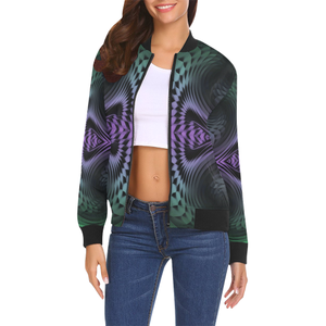 Unfolding All Over Print Bomber Jacket for Women (Model H19)
