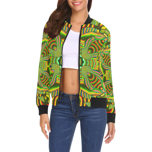 Amazonian All Over Print Bomber Jacket for Women (Model H19)