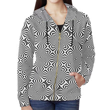 Fiber Optics All Over Print Full Zip Hoodie for Women (Model H14)