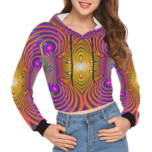 Energy Fields All Over Print Crop Hoodie for Women (Model H22)