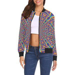 Groovy All Over Print Bomber Jacket for Women (Model H19)