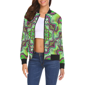 Borophyll All Over Print Bomber Jacket for Women (Model H19)