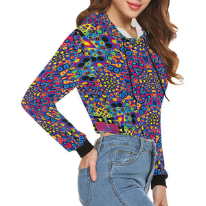 Alien Flora All Over Print Crop Hoodie for Women (Model H22)