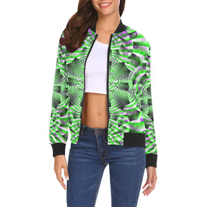 Mystic Motions All Over Print Bomber Jacket for Women (Model H19)