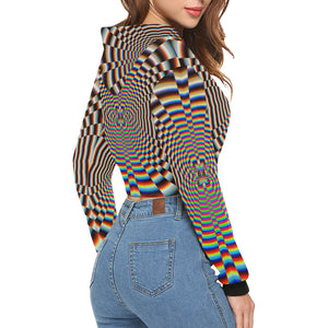 Psychosis All Over Print Crop Hoodie for Women (Model H22)