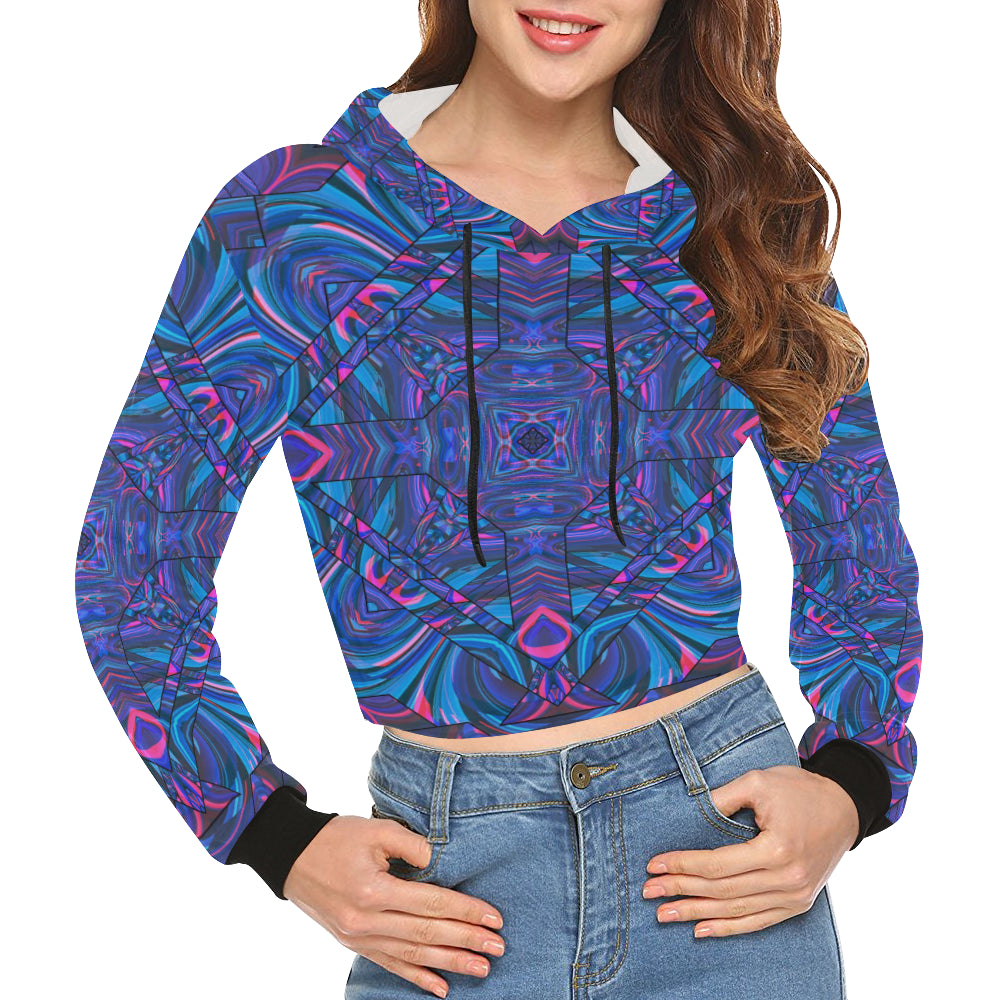 Blue Sector All Over Print Crop Hoodie for Women (Model H22)