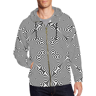 Fiber Optics All Over Print Full Zip Hoodie for Men (Model H14)