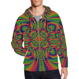 Tropical All Over Print Full Zip Hoodie for Men (Model H14)