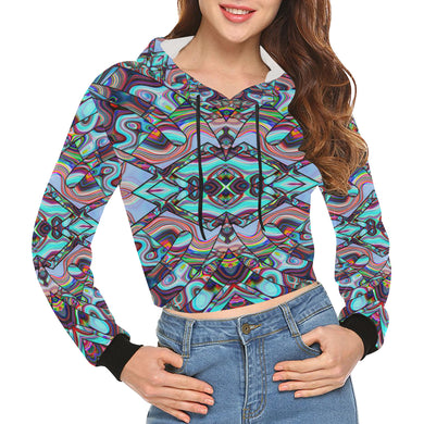Inner Palace All Over Print Crop Hoodie for Women (Model H22)